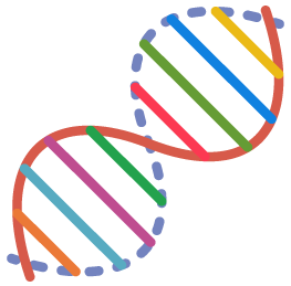Multicolored double-helix structure of DNA